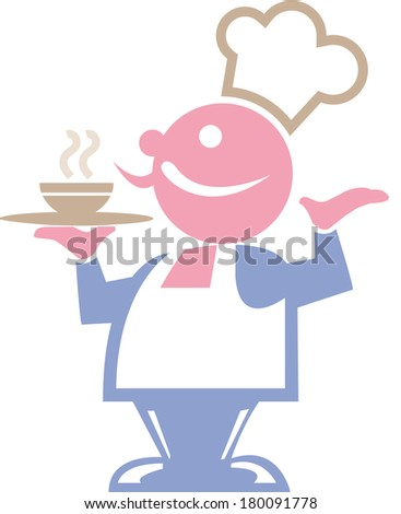 waiter holding serving tray - stock photo