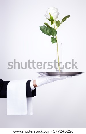 Waiter holding silver tray with a glass jar and flower over gray background - stock photo