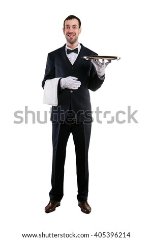 Waiter holding tray. Isolated over white background. Smiling butler.