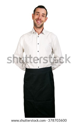 Waiter man isolated over white background, smiling.