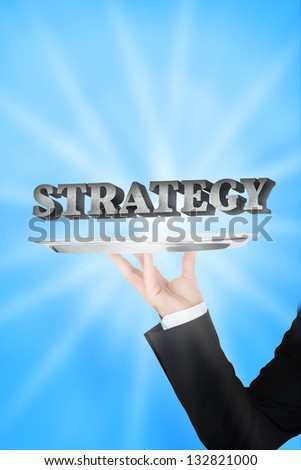 Waiter presenting strategy on blue light beam background