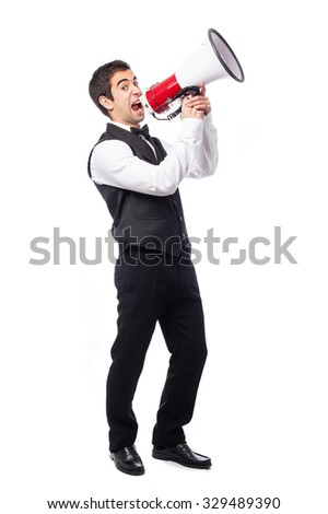 waiter shouting with a megaphone