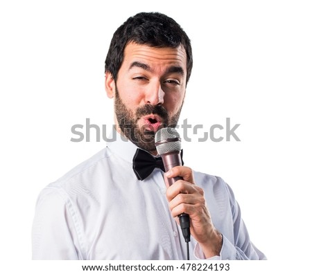 Waiter singing with microphone