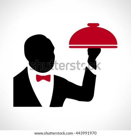 Waiter with a tray - stock photo