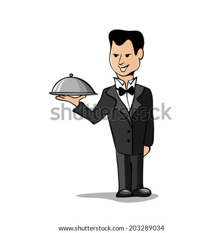Waiter with a tray isolated on white background - stock photo
