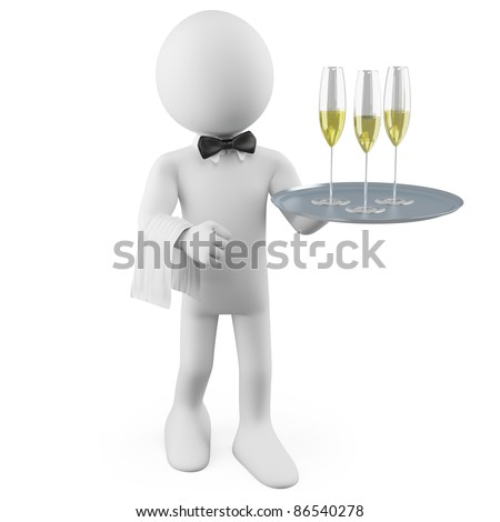 Waiter with a tray with three glasses of champagne