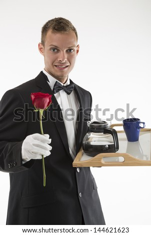 waiter with rose and coffee