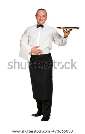 Waiter with tray over white background.