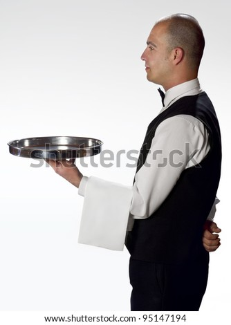 Waiter with tray profile