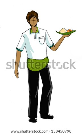 waiter with uniform drawing - stock photo