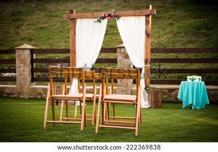 Waiting for a wedding outdoor ceremony - stock photo