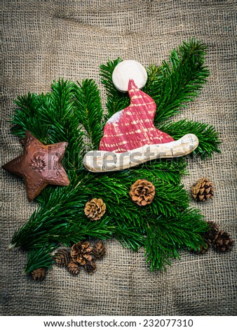 waiting for christmas - christmas decoration vintage style - stock photo
