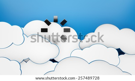 Waiting for God, Download icon in white clouds blue sky 3d - stock photo