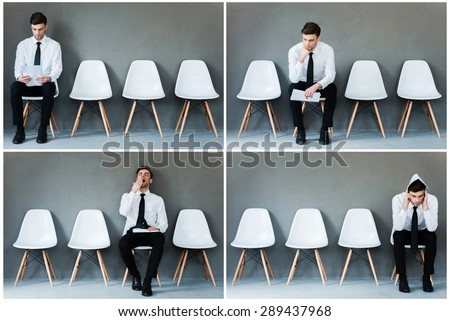 Waiting for his interview. Collage of young businessman in shirt and tie expressing different emotions while sitting on the chair and waiting for interview  - stock photo