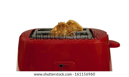 waiting for my delicious toasted bread- Toaster with Bread on a white background - stock photo