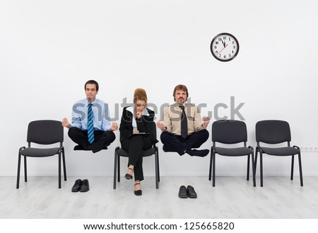 Waiting for the job interview - with a slight disadvantage, adult training importance concept - stock photo