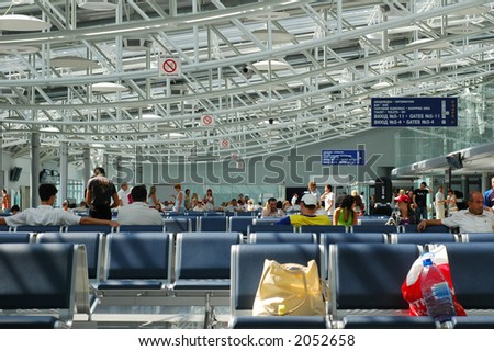 Waiting lounge in the airport - stock photo