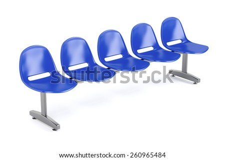 Waiting room chairs on white background - stock photo