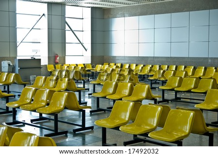 waiting room seats at the airport - stock photo