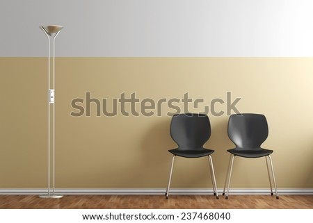 Waiting room with chairs and lamp yellow wall - stock photo