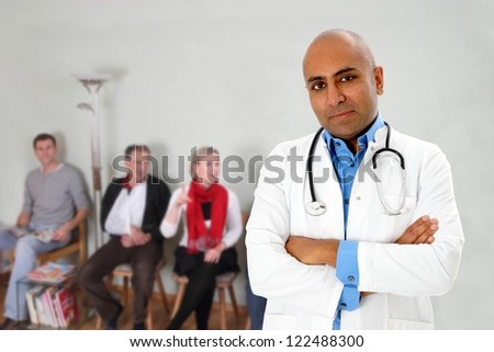 Waiting room with patients and a doctor - stock photo