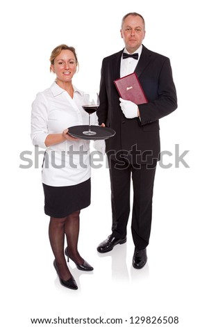Waitress and Maitre D' isolated on a white background. - stock photo