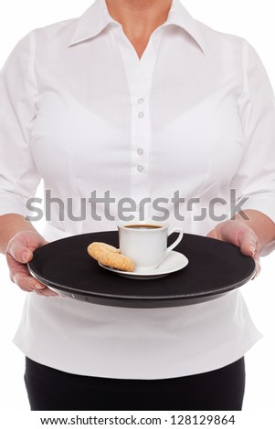 Waitress holding a tray with an Espresso coffee and Amaretti biscuits, white background. - stock photo