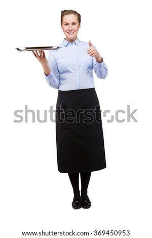 Waitress holding tray over white background with smile, showing ok sign by thumb.