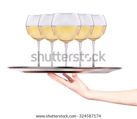 Waitress holding tray with wine glasses isolated on a white background - stock photo
