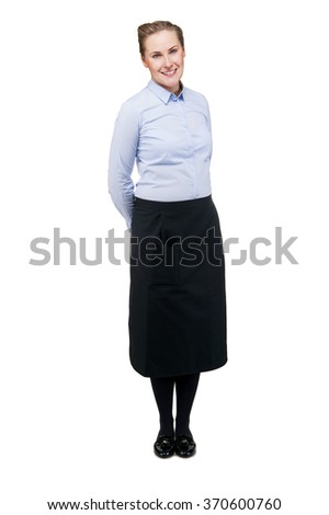 Waitress isolated over white background. Smiling blond woman in uniform. - stock photo