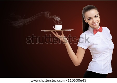 Waitress with a tray with cup of coffee on it