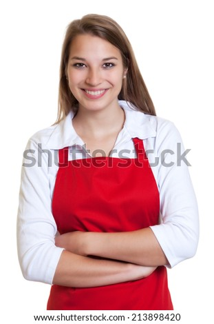 Waitress with red apron and crossed arms - stock photo