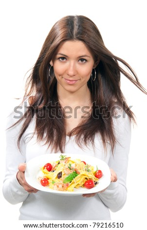 Waitress woman holding plate with italian lemon pappardelle, tagliatelle, macaroni, spaghetti pasta with tomato, shrimps and olives on serviette on a white background - stock photo