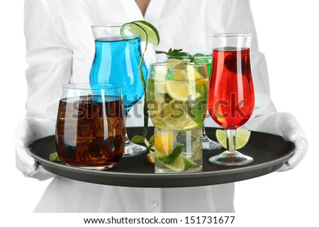 Waitresses holding tray with glasses of cocktails, isolated on white