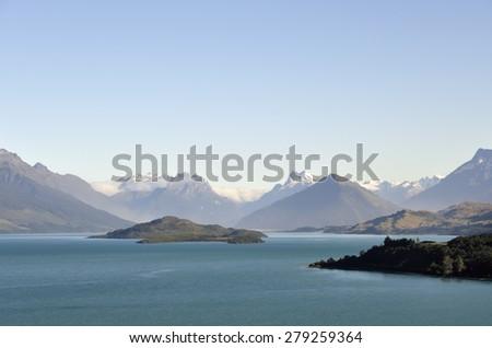 Wakatipu lake mountain landscape, New Zealand. - stock photo