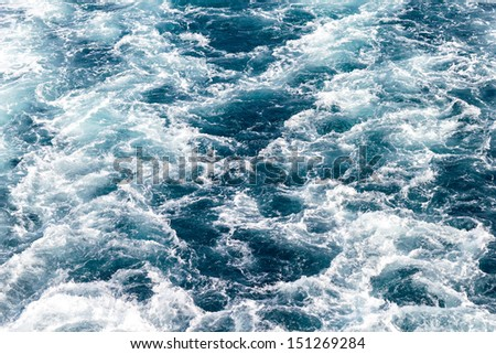 Wake of a cruise ship - stock photo