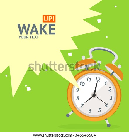 Wake Up Clock Concept Card. Flat Design. illustration - stock photo