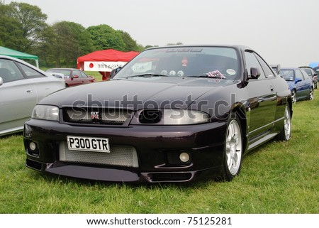 WAKEFIELD, ENGLAND - MAY 10: Black Nissan Skyline on Display at the Annual Rising Sun Car Show on May 10, 2008 in Wakefield, England, UK.  Norton Priory is host to the show