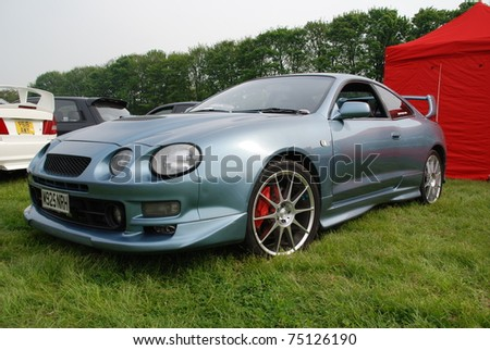 WAKEFIELD, ENGLAND - MAY 10: Blue Toyota Supra on Display at the Annual Rising Sun Car Show on May 10, 2008 in Wakefield, England, UK.  Norton Priory is host to the show
