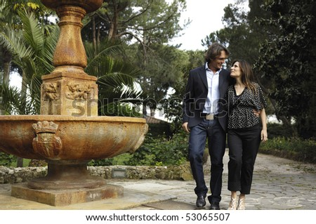 Waking in a villa with a fountain - stock photo
