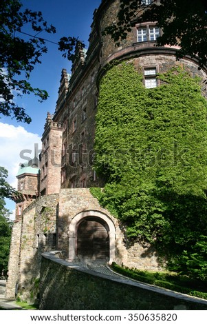 Walbrzych, Poland - August 7, 2012: Castle of Ksiaz located on the hill in the Walbrzych district, Poland. Originally the castle was  built in 1288-1292. The present baroque rebuilt in 1705-1732.