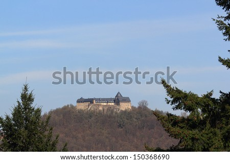 Waldeck Castle ontop a hill near lake Edersee, Waldeck, Hessen, Germany - stock photo