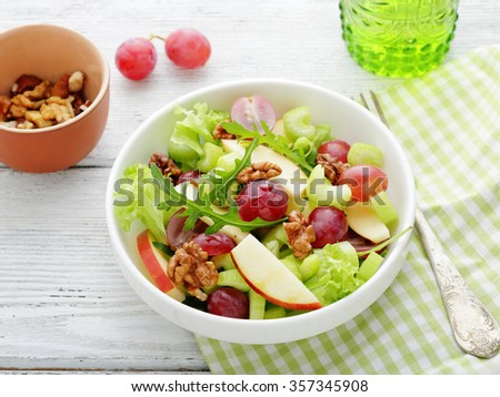 Waldorf salad with grapes, food close-up - stock photo