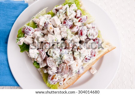 Waldorf Styled Chicken Salad With Grapes And Walnuts