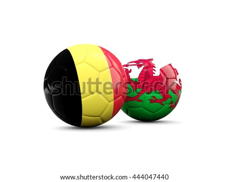 Wales and Belgium soccer balls isolated on white. 3D illustration - stock photo