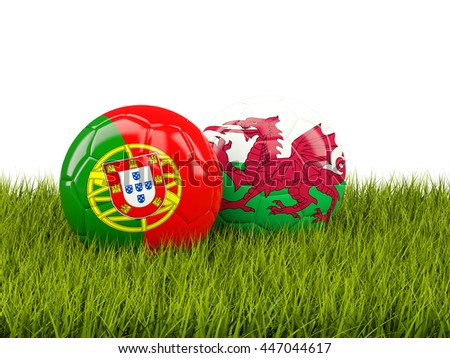 Wales and Portugal soccer  balls on grass. 3D illustration
