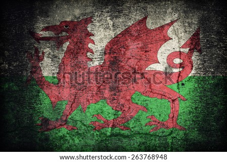 Wales flag pattern on dirty old concrete wall texture ,retro vintage style - stock photo