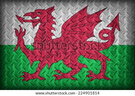 Wales flag pattern on the diamond metal plate texture ,vintage style - stock photo