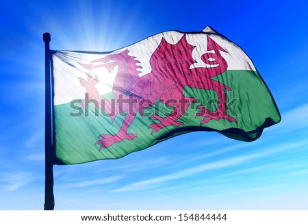 Wales flag waving on the wind - stock photo