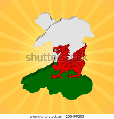 Wales map flag on sunburst illustration